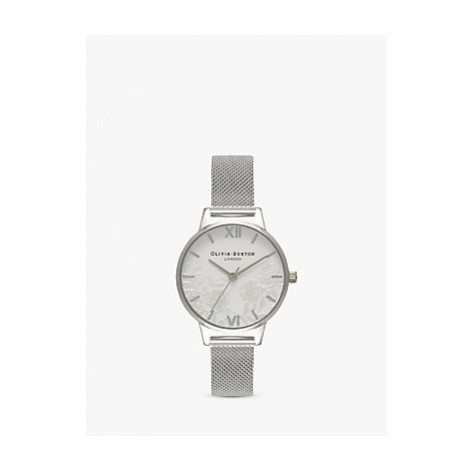 Olivia Burton OB16MV54 Women's Lace Detail Bracelet Strap Watch, Silver/White