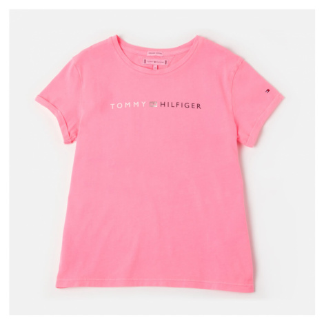 Tommy Hilfiger Girls' Essential Roll Up T-Shirt - Pink Glo