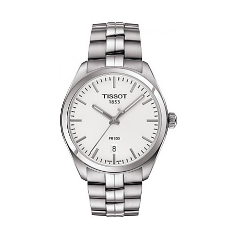 Tissot T1014101103100 Men's PR100 Date Bracelet Strap Watch, Silver/White