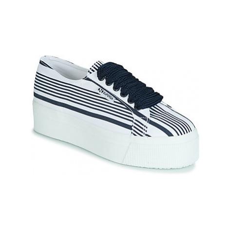 Superga 2790 COT MULTI STRIPE W women's Shoes (Trainers) in White