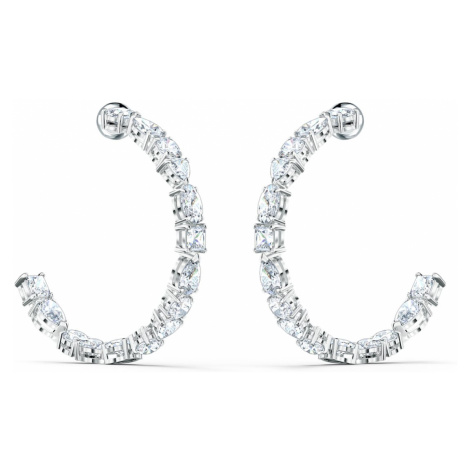 Tennis Deluxe Mixed Hoop Pierced Earrings, White, Rhodium plated Swarovski