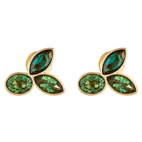 Beautiful Earth by Susan Rockefeller Stud Pierced Earrings, Green, Gold-tone plated Swarovski