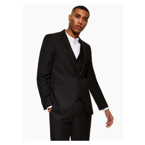 Mens Black Skinny Fit Single Breasted Suit Blazer With Notch Lapels, Black Topman
