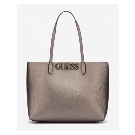 Guess Uptown Chic Barcelona Handbag Silver Beige