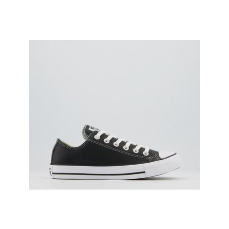 Converse All Star Low Leather Trainers BLACK WHITE LEATHER