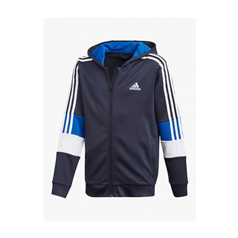 Adidas Boys' Logo Colour Block Zip Hoodie, Blue