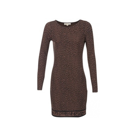 MICHAEL Michael Kors CHEETAH LS BORDER DRS women's Dress in Brown