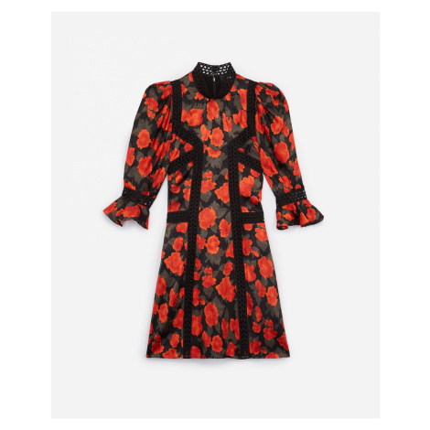 The Kooples - Short printed dress with lace strips - WOMEN