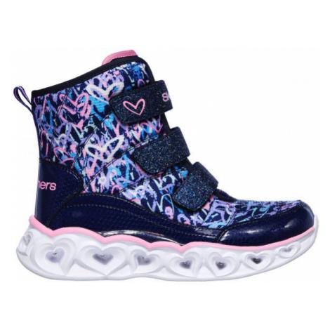 Skechers HEART LIGHTS SCRIBBLE dark blue - Girls' winter shoes