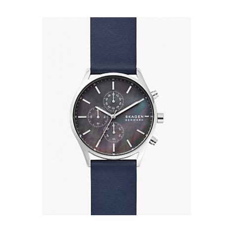 Skagen SKW6653 Men's Holst Chronograph Leather Strap Watch, Navy/Mother of Pearl