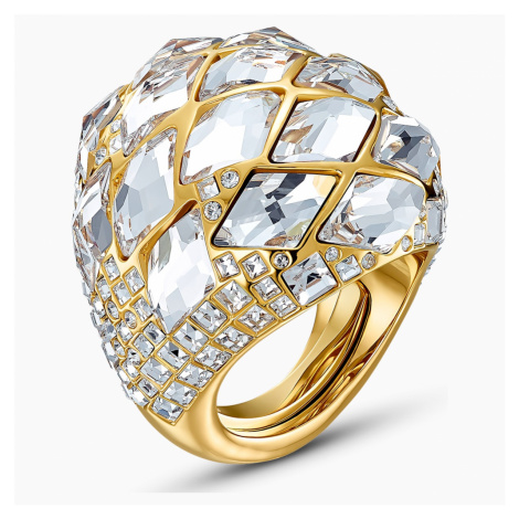 Tropical Ring, White, Gold-tone plated Swarovski