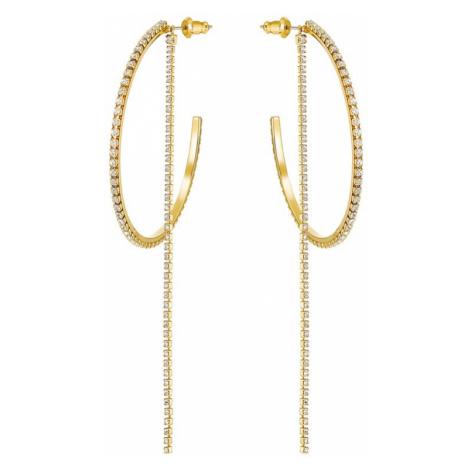 Swarovski Fit White Crystal Gold Plated 2-in-1 Hoop Earrings