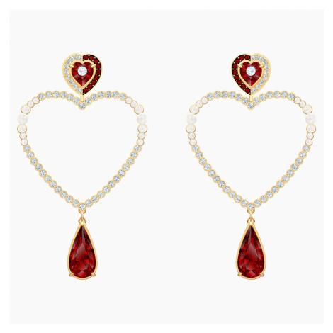 Black Baroque Hoop Pierced Earrings, Multi-coloured, Gold-tone plated Swarovski