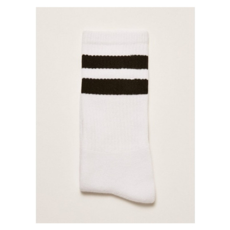 Mens White And Black Stripe Tube Socks, White Topman