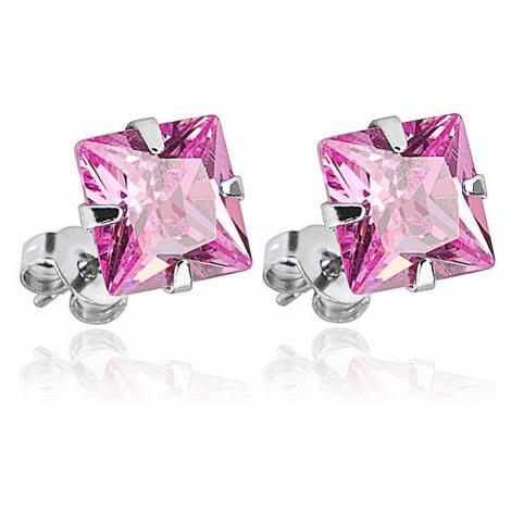 earrings Body Art SESQ - 5P/Princess Cut Square/Pink