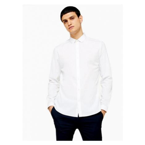 Mens White Slim Smart Shirt, White Topman
