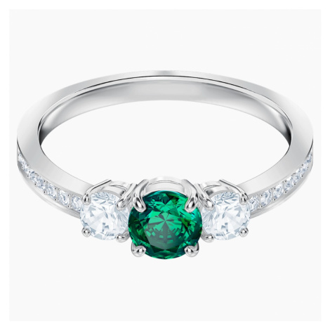 Attract Trilogy Round Ring, Green, Rhodium plated Swarovski