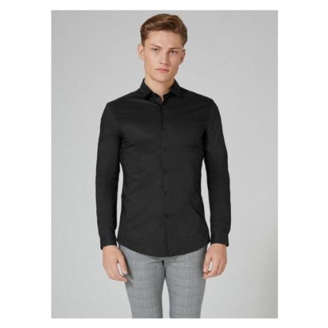 Mens Black Stretch Skinny Smart Shirt, Black Topman