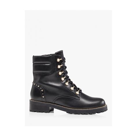 Dune Pearlise Embellished Leather Hiker Boots, Black