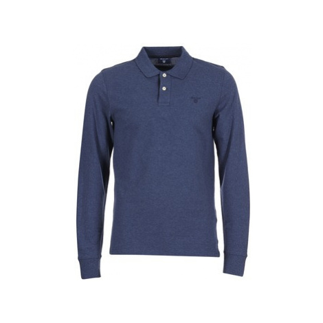 Gant CONTRAST COLLAR PIQUE LS RUGGER men's Polo shirt in Blue