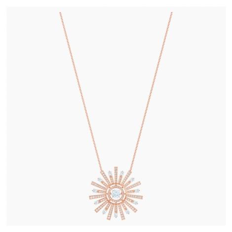 Sunshine Necklace, White, Rose-gold tone plated Swarovski