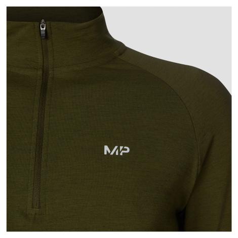 MP Men's Performance 1/4 Zip - Army Green/Black Myprotein