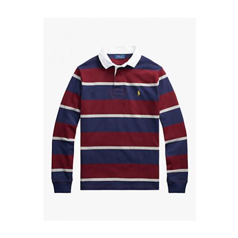 Polo Ralph Lauren Stripe Rugby Polo Shirt, Classic Wine/Multi