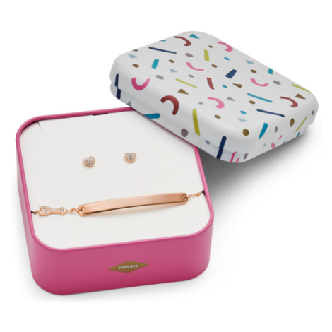 Fossil Women Heart And Arrow Rose-Gold-Tone Stainless Steel Studs And Bracelet Box Set - One siz