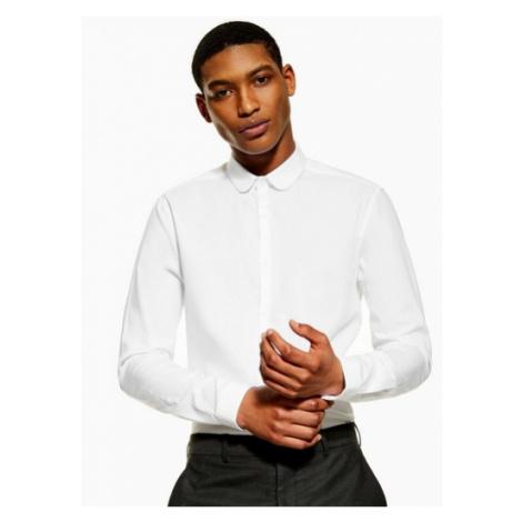 Mens Premium White Penny Collar Slim Shirt With Egyptian Cotton, White Topman