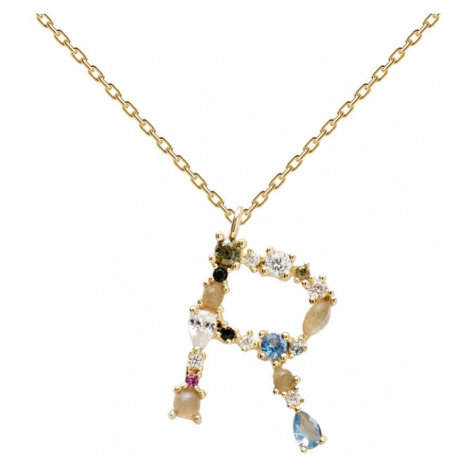 P D PAOLA Gold Plated Multi Stone Letter R Necklace
