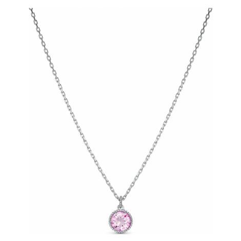 Birthstone Pendant, June, Pink, Rhodium plated Swarovski