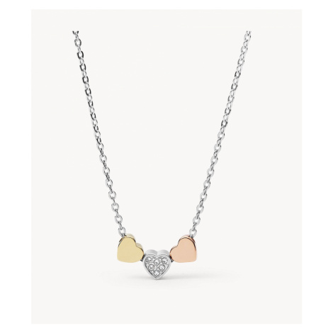 Fossil Women's Heart Tri-Tone Steel Necklace - Silver Rose Gold Gold