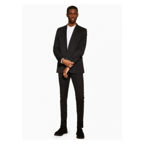 Mens Black Super Skinny Fit Suit Trousers, Black Topman