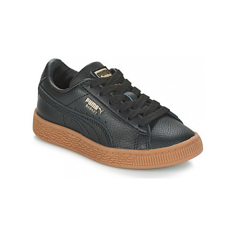 Puma PS BASKET CL GUM.BLK-GOLD girls's Children's Shoes (Trainers) in Black