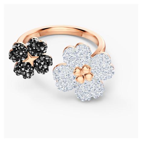 Latisha Ring, Black, Rose-gold tone plated Swarovski