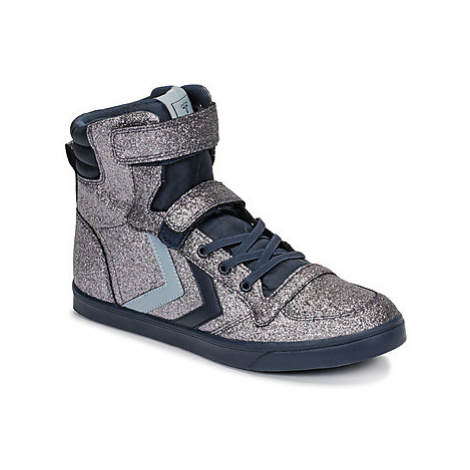 Hummel SLIMMER STADIL GLITTER JR girls's Children's Shoes (High-top Trainers) in Blue