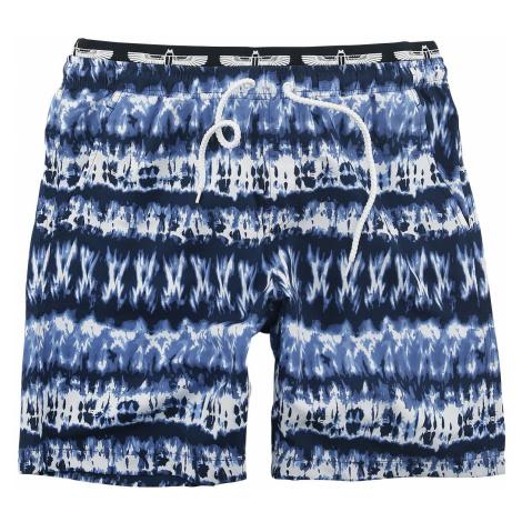 RED by EMP Blue/White Swimshorts in Batik Look Swim Shorts dark blue white