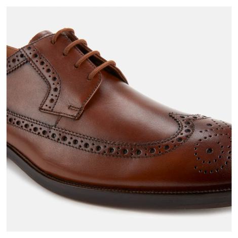 Clarks Men's Oliver Wing Leather Derby Shoes - Dark Tan - UK
