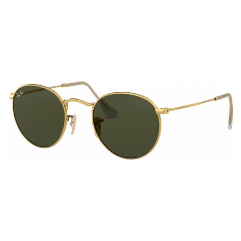 Ray Ban Unisex RB3447 ROUND METAL - Frame color: Gold, Lens color: Green, Size 53-21/145
