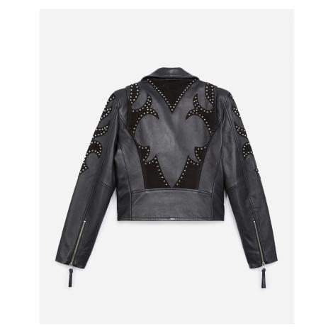 The Kooples - Black leather biker jacket with studs - WOMEN