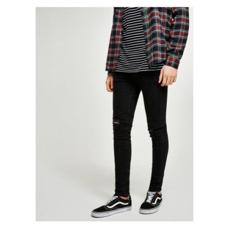 Mens Washed Black Ripped Spray On Skinny Jeans, Black Topman