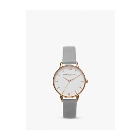 Olivia Burton Women's Midi Dial Leather Strap Watch, Grey/White OB16MDW05