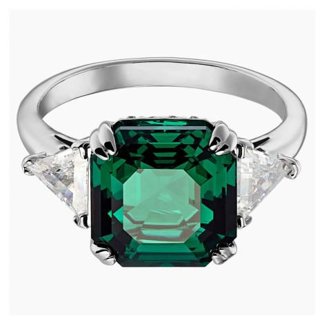 Attract Cocktail Ring, Green, Rhodium plated Swarovski