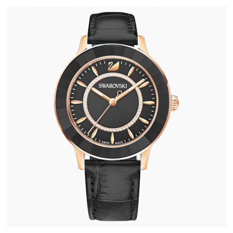 Octea Lux Watch, Leather strap, Black, Rose-gold tone PVD Swarovski