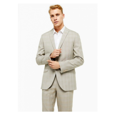 Mens Stone Check Single Breasted Slim Fit Suit Blazer With Peak Lapels, Stone Topman