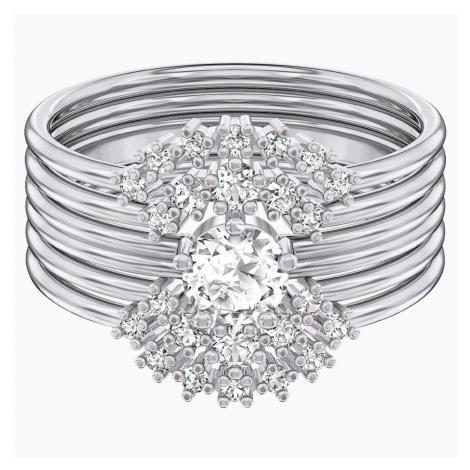Moonsun Ring Set, White, Rhodium plated Swarovski