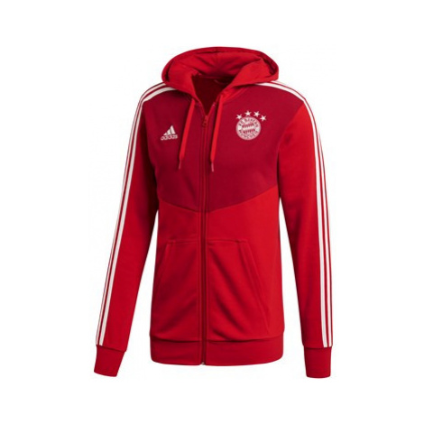 FC Bayern 3 Stripe Full Zip Hoody - Red Adidas