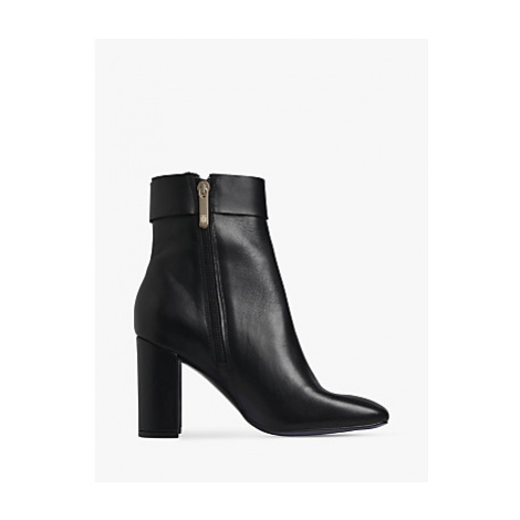 Tommy Hilfiger Square Toe Leather Ankle Boots, Black