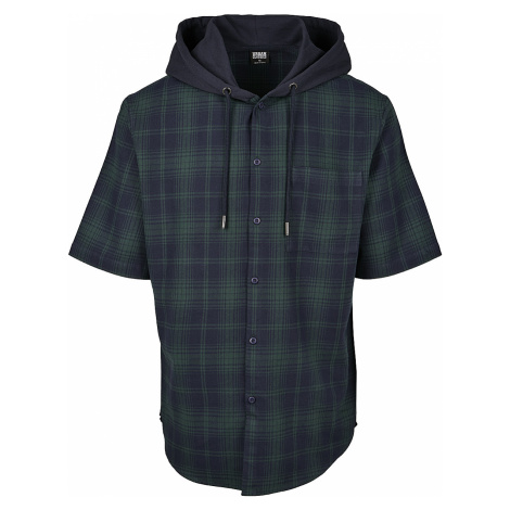 Urban Classics - Hooded Short Sleeve Shirt - Workershirt - navy-green