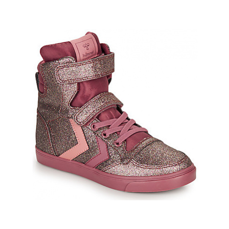 Hummel SLIMMER STADIL GLITTER JR girls's Children's Shoes (High-top Trainers) in Pink